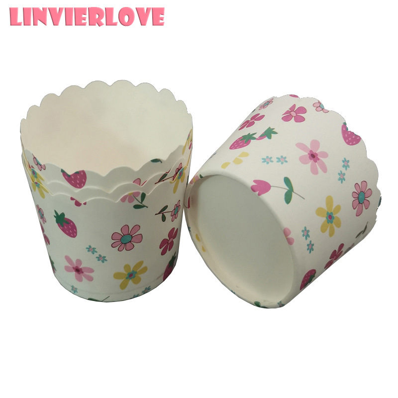 LINVIERLOVE 50pcs Flowers Printing Muffin Cases Paper Cups Cake Cupcake Liner Baking Mold Paper Cake Party Tray Cake Decor Tool image