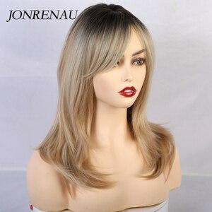 Image 2 - JONRENAU peluca largo sintético con flequillo de raíz oscura, cabello marrón degradado, pelucas de alta calidad con ondas naturales para mujeres blancas/negras