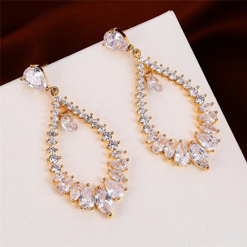 Dainty Female White Crystal Drop Earring Classic Rose Gold Color Dangle Earrings Vintage Hollow Leaf Wedding Earrings For Women