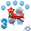 12 шт./компл. самолет Фольга воздушные шары самолета номер гелий Globos День рождения украшения дети Надувные игрушки подарки для воздушных шар...