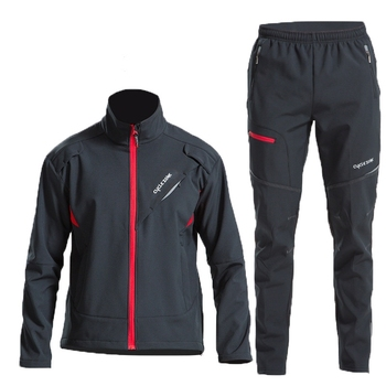 Winter High Quality Cycling Clothing Windproof Thermal Man Bicycle Set Full Sleeve Warm Cycling Pants Full Zipper Cycling Sets jakroo elt2 female thermal cycling jacket full sleeve high neck fleece cycling jersey windcoat warm up bike cycling equipment
