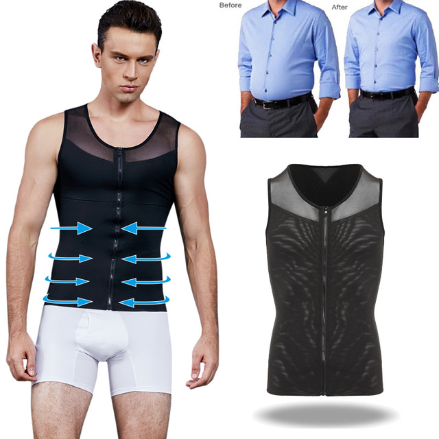 Men Shaper Corset For Man Slimming Waist Trimmer Zipper Body Shapers Control Belly Tops Abdominal Vest Waist Trainer Tummy