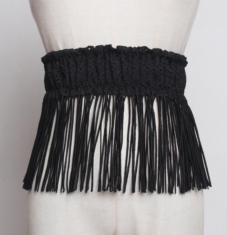 Women's Runway Fashion Elastic Tassel Lace Zipper Cummerbunds Female Dress Corsets Waistband Belts Decoration Wide Belt R2246