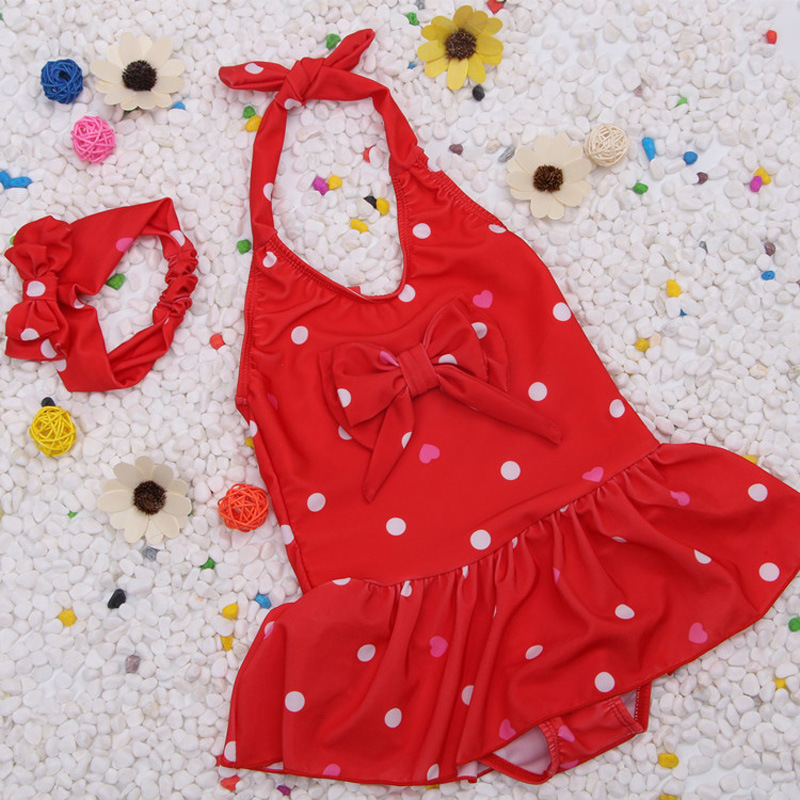 One-piece Swimming Suit Cute Children Polka Dot Girl Baby Bikini Girls Princess Dress-Swimwear Olivia Chinlon