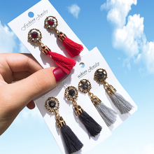 Earrings for women New Long Tassel Women Jewelry Crystal  Bohemian Hand-woven Cotton Solid Girl