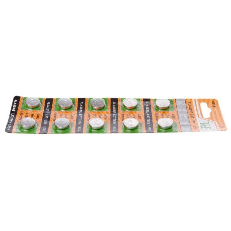 Tüketici Elektroniği'ten Düğme Piller'de 10 adet düğme düğme pil hücre pil AG10 1.5V piller SR54 389 189 LR1130 SR1130 oyuncaklar kontrol uzaktan PXPE