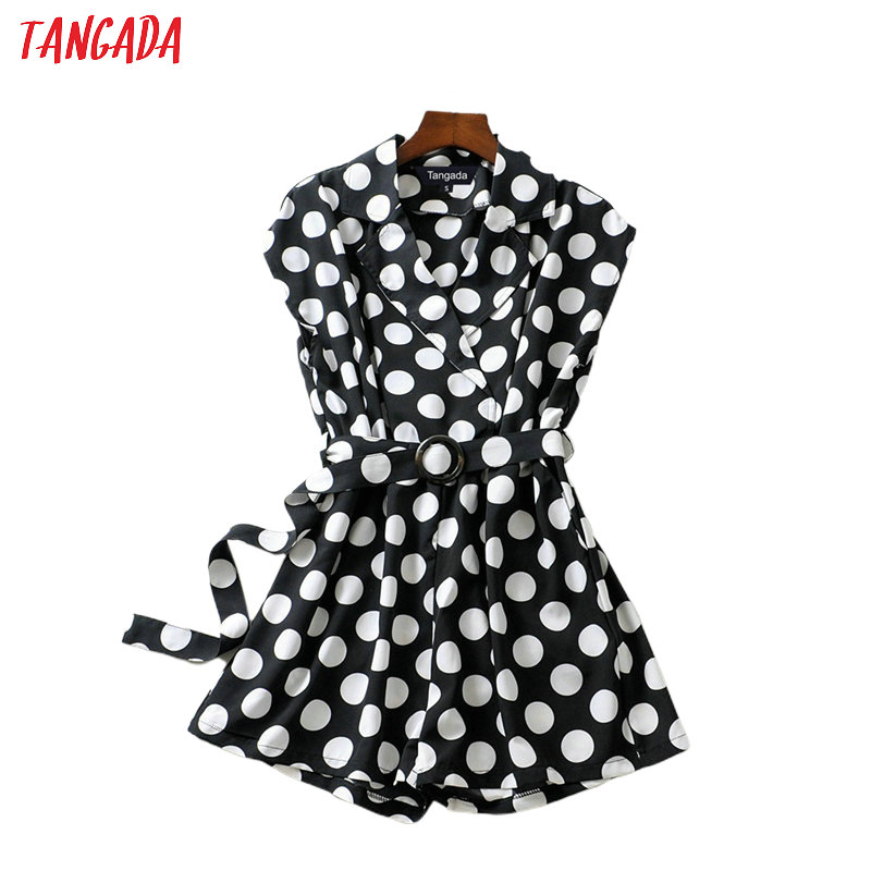 Tangada 2020 Fashion Women Dots Print Playsuit With Belt Short Sleeve Button Female Casual Summer Playsuit 2F56