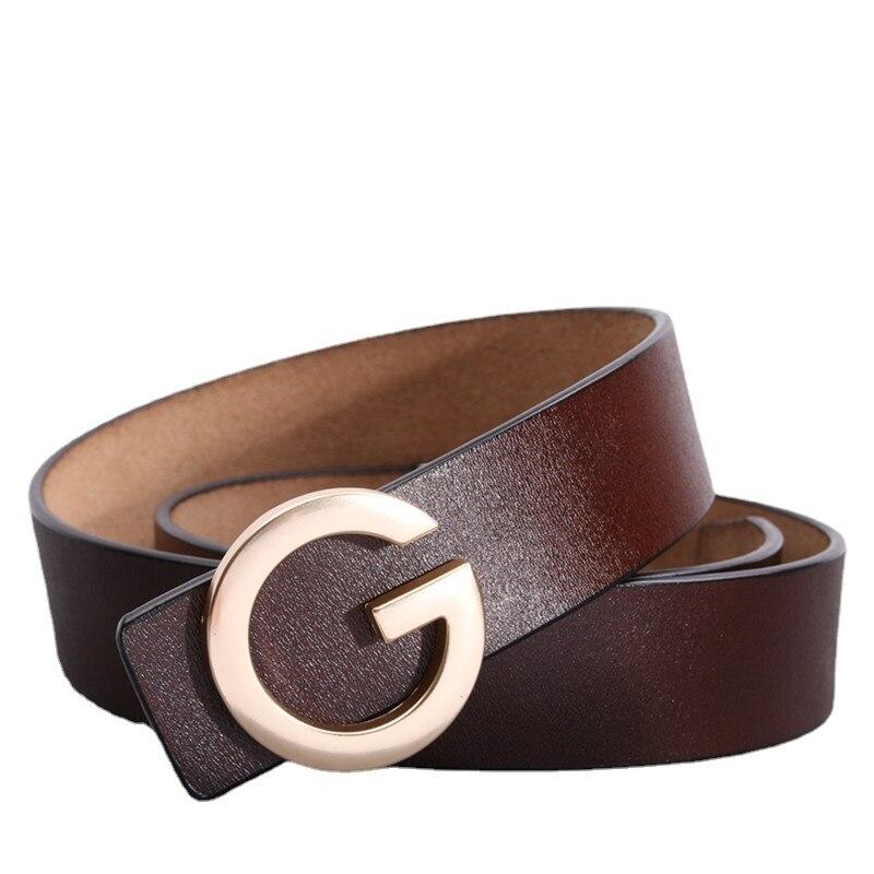 New Men Luxury Brand Women Belt Smooth G Buckle Belts 3.8cm High Quality Male Women Leather Buckle Strap Women Belts Waist Belt