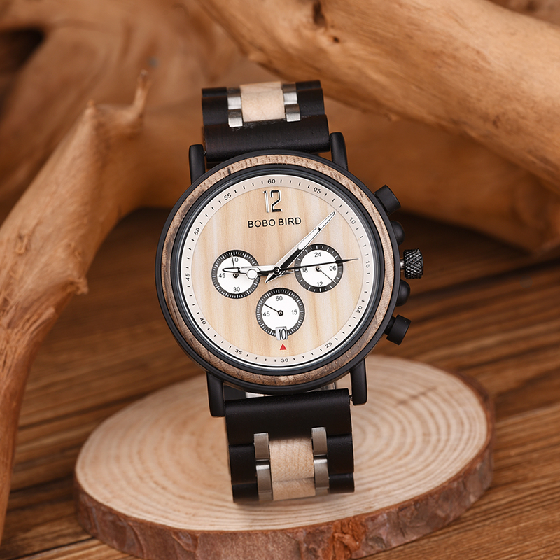 Image 4 - BOBO BIRD Watch Men montre  Wood Watch Men Chronograph Military Watches Luxury Stylish Dropshipping with Wooden Box reloj hombreQuartz Watches   -