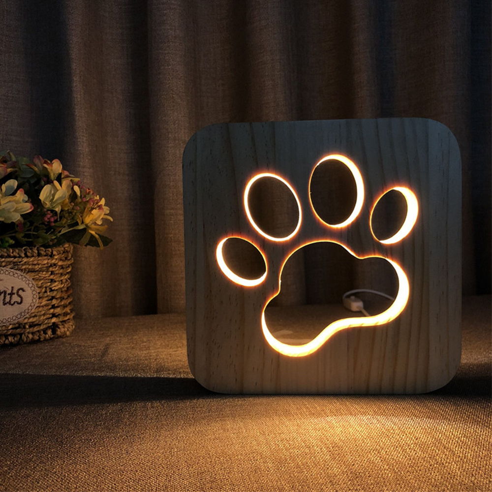 New LED USB Night Light Wooden Dog Claw Wolf Head Lamp Children Bedroom Decoration Warm Light Childrens Table Lamp