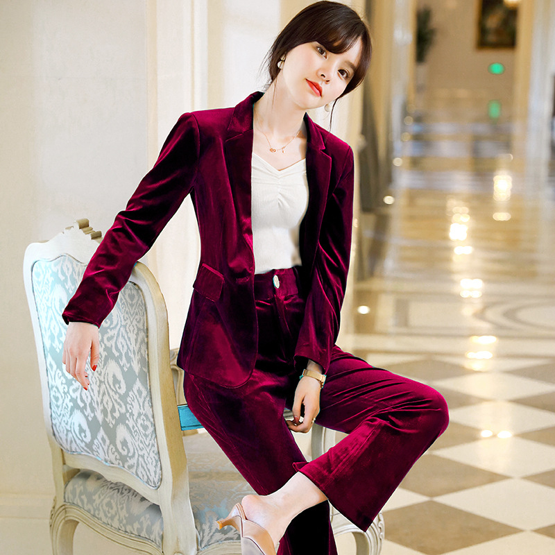 Woman Suits Lady Suit Office High Quality Gold Velvet Fashion Long Sleeve Blazer Female Pants Suit 2019 Winter New Style