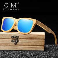 GM nuevo diseño de marca hecho a mano Natural de madera de bambú gafas de sol de lujo polarizadas de madera Oculos de sol masculino