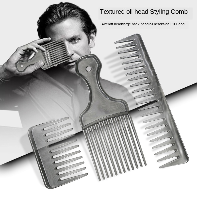 Men Handle Grip Large Tooth Detangling Curly Hair Comb Back Head Styling Beard Oil Comb Men Hairdressing Wide Teeth Comb G0114