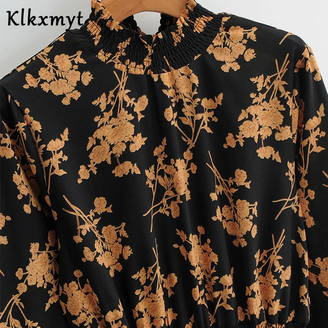 Klkxmyt Za Dress Women 2020 Chic Fashion Floral Print Mini Dress Vintage Long Sleeve Elastic Waist Female Dresses Vestidos Mujer 4
