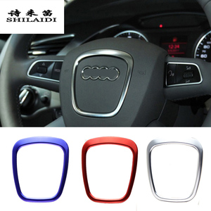 Car Styling steering wheel center logo Covers Stickers Trim for Audi A4 B6 B7 B8 A6 C6 A5 Q7 Q5 A3 8P S3 8v Interior Accessories(China)