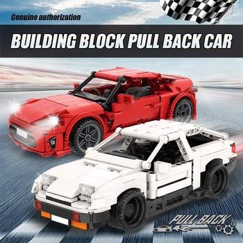 City Creator Pull Back Mechanical Vehicle Building Blocks MOC Technic Racing Car DIY Model Bricks Education Toys For Children 2