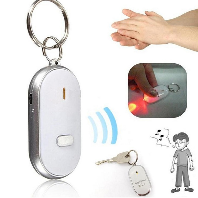 LED Anti-Lost Key Finder Find Locator Keychain Whistle Beep Sound Control Torch Audio Induction Flash Electronic Alarm