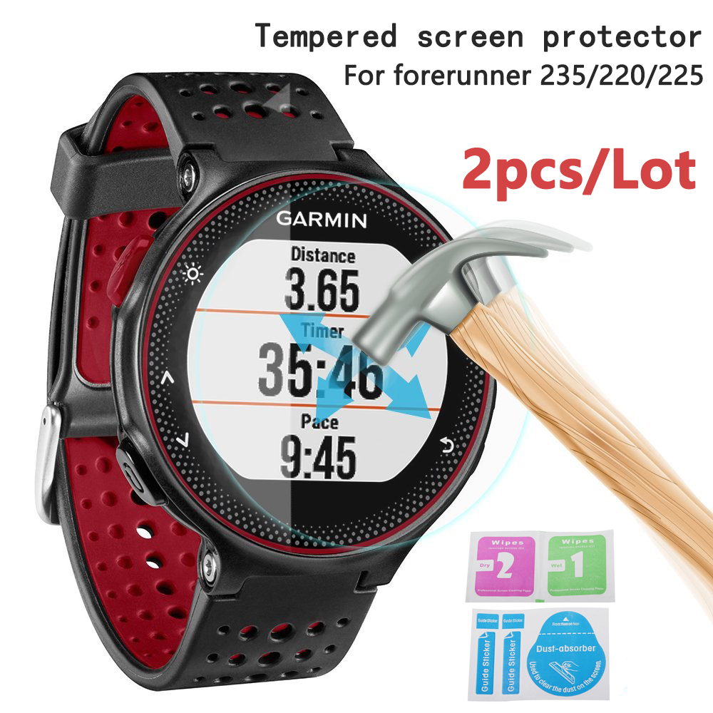 2pcs Screen Protector For Garmin Forerunner 245/235/225/220 Tempered Glass 9H 2.5D Premium Film MartWatch