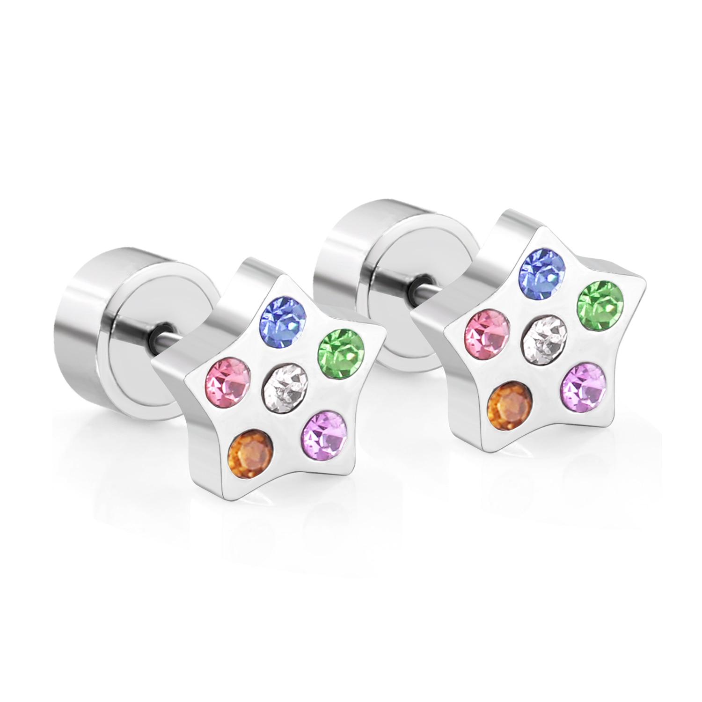LUXUSTEEL Butterfly Star Heart Earrings Cute Colorful CZ Earrings For Baby Girl Surgical Steel Earring Brinco Small Earrings