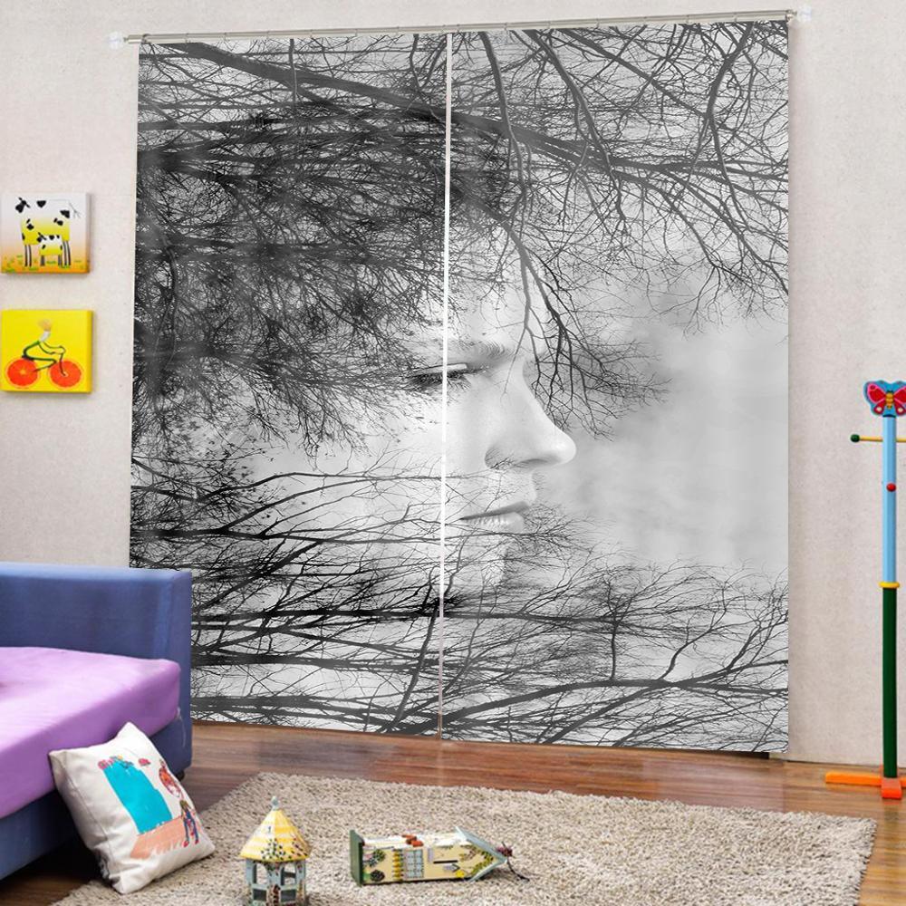Cortina de ducha blanca y negra personalizada para decoración de ramas de árbol para la vida Natural otoño temática dormitorio cortina de la cara opaca - 4