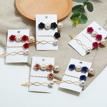 HOCOLE Imitation Pearl Metal Barrette Hair Clips For Women Fashion Flower Shell Hairpins Girls Styling Accessories Jewelry