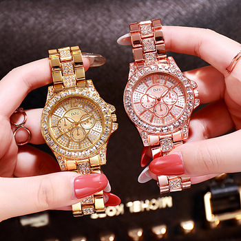 New gold tricolor quartz watch fashion casual fake three eye six needle diamond alloy wristwatch for ladies - sale item Women's Watches