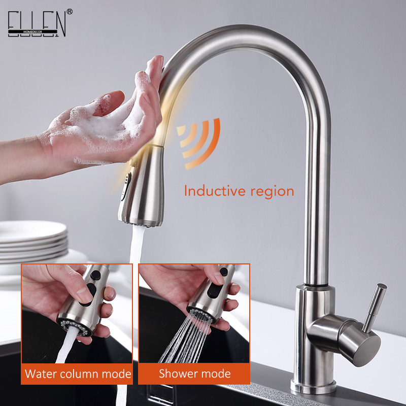 Touch Kitchen Faucets Pull Out Kitchen Mixer Tap Sensor Faucet Swivel 360 Degree Hot And Cold Water Mixer Tap ELK5409