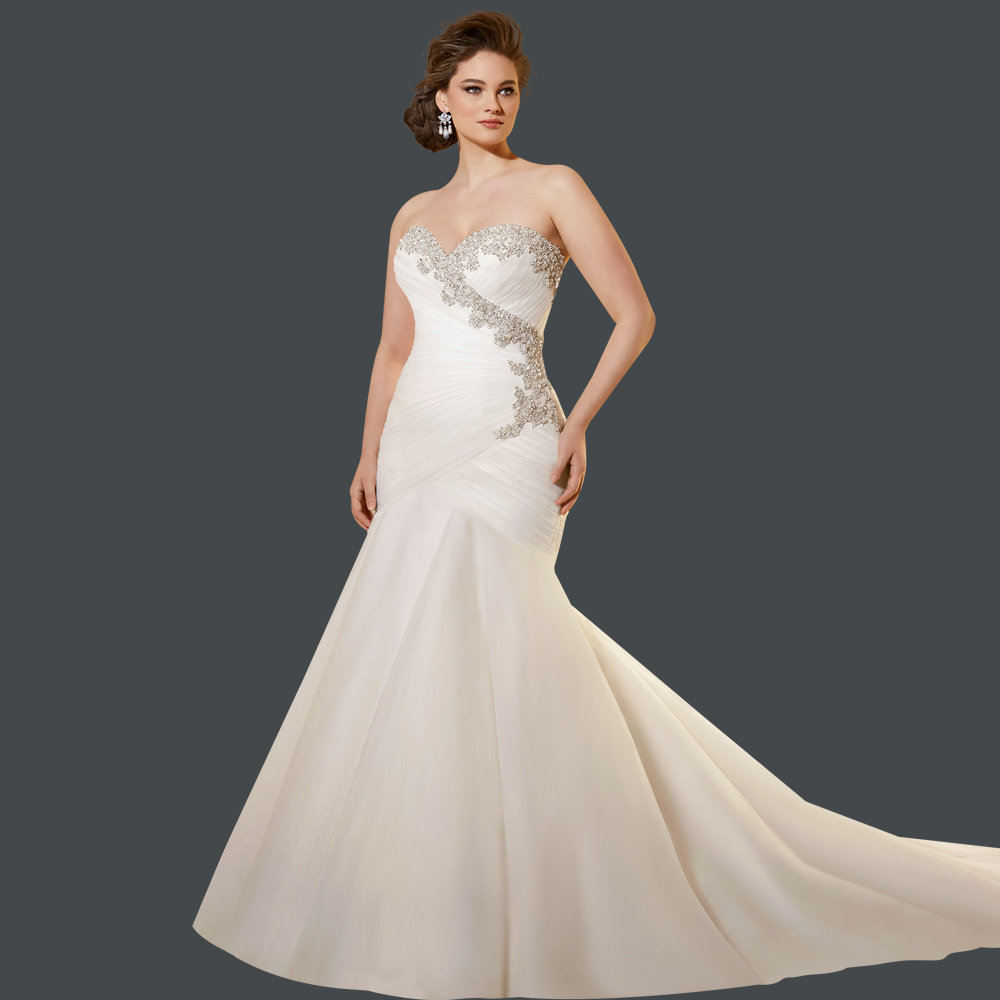 Best Quality Full Crystal Lace Up Pleated Mermaid Bridal Dress Plus Size Wedding Dresses Hot 2015