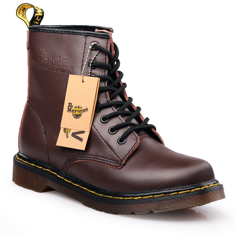 Classic Martin Leather Mid-thigh Boots for Both Men and Women, Chunky Soles, Single Boots Snow Boots Men 3