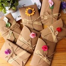 10 шт. ретро DIY крафт-бумага Пригласительные открытки с конвертом ручной работы сухой цветок свадебные приглашения конверты
