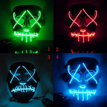 Halloween Cosplay Funny Mask Full Face Covered LED Costume Mask EL Wire Light Up Mask for Festival Party drama performance decor neon led strip prom mask luminous christmas cosplay light up el wire costume mask for festival party