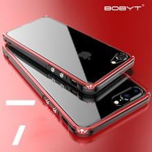 Metalen Bumper Voor Iphone 7 Plus Case Slim Aluminium Frame Plastics Back Hybrid Cover Voor Iphone 8 Plus Luxe dunne Behuizing