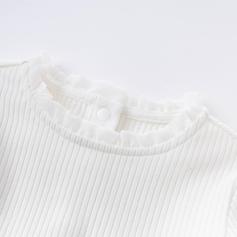 DB15908 dave bella autumn baby girls cute solid T-shirt children tops girl kids fashion tees 4