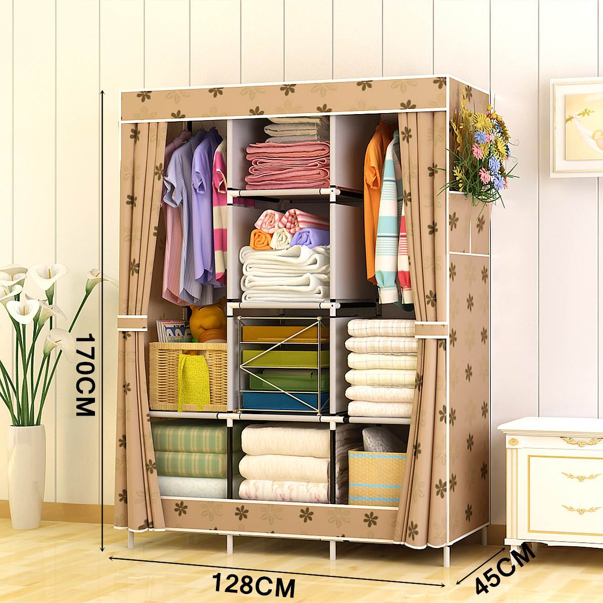 128x45x170cm Non-woven Fabric Wardrobe Fabric Closet Portable Folding Dustproof Waterproof Wardrobes Clothing Cabinet Furniture