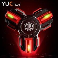 YUC – Spinner à main muet, lumière lumineuse, roulement silencieux, métal en alliage, acier inoxydable, Gyro Senior, anti-Stress, cadeau, R188