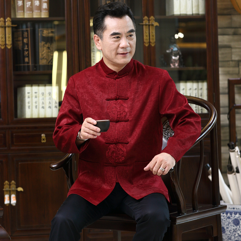Middle-aged Men Tang Suit Long Sleeve Spring Coat Chinese Old Man Birthday Dad Bride Father Suit