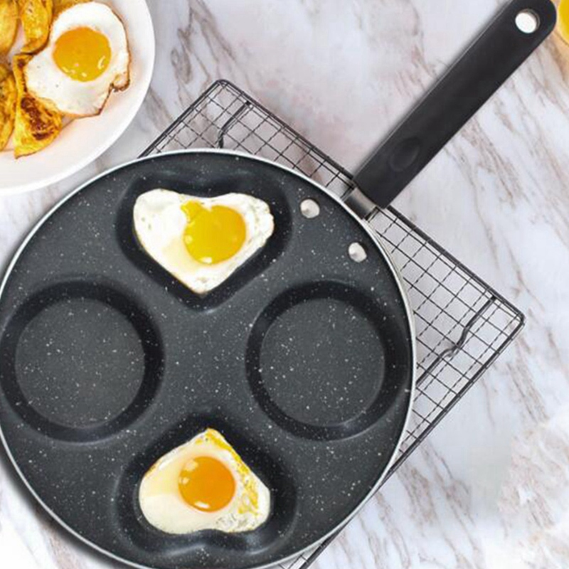 New-Four-Hole Fried Egg Pot Egg Ham Pancake Machine Fried Non-Stick Pan Without Oil Smoke Easy To Clean