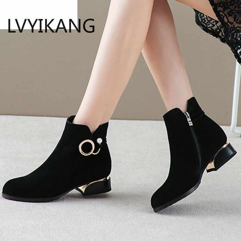 2019 kadın çizmeler bayanlar moda fermuar yarım çizmeler öğrenci rahat büyük boy fırçalayın tek çizmeler sıcak kürk kış sıcak ayakkabı 35- 43