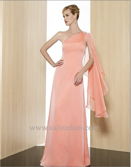 Free Shipping 2014 New Arrival Women Vestido De Festa Formales One Shoulder Long Chiffon Elegant Party Gown Bridesmaid Dresses