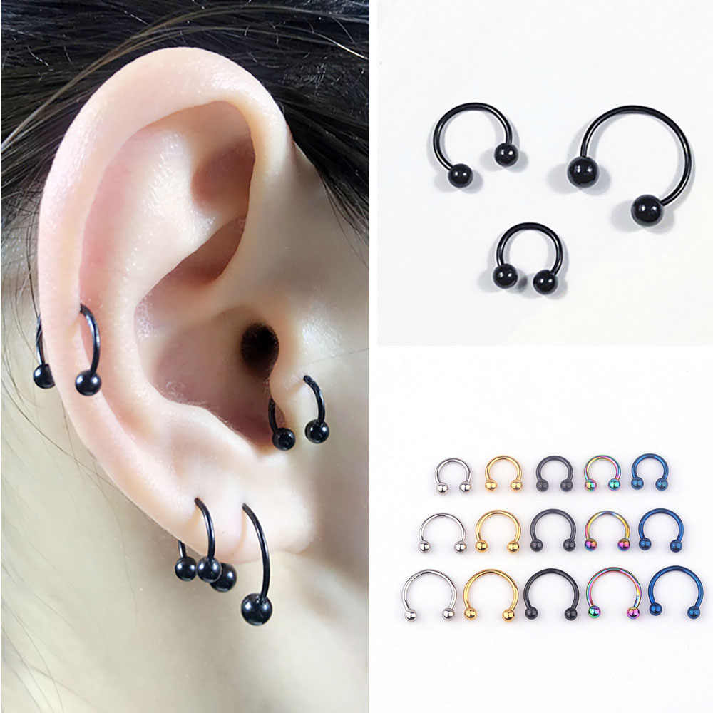 5pcs נירוסטה האף טבעת Tragus פירסינג חישוק מחץ טבעת סחוס עגיל Helix אוזן גוף תכשיטי עבור סקסי נשים גברים