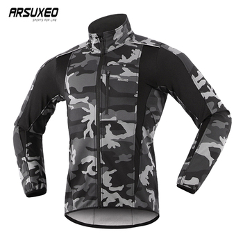 ARSUXEO Thermal Mtb Road Cycling Jacket Winter Night Reflective Warm Bicycle Clothing Windproof Waterproof Men Coat Bike Jersey arsuxeo men s cycling jacket winter thermal fleece warm up mtb bike jacket wind bicycle clothing windproof outdoor sports coat