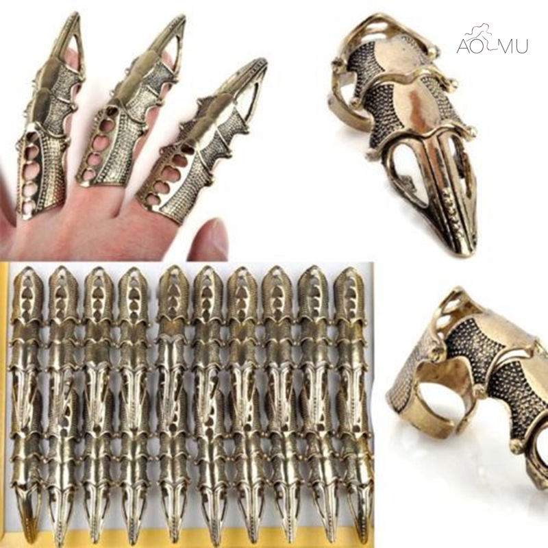 5Pcs/Lot Gothic Punk Hinged Knuckle Joint Full Finger Spike Armor Rings Claw Bulks Wholesale Jewelry
