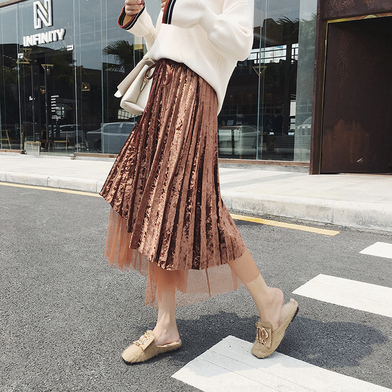 Gauze Patchwork Gold Velvet Skirts New Women Winter Pleated Sweet Fashion Long Irregular Skirt Tulle Solid Thick