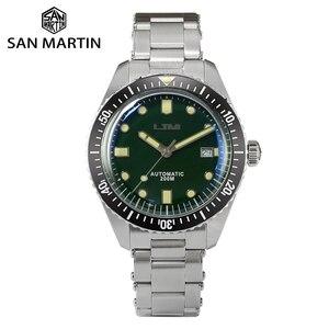 Image 1 - San Martin Diver Men Watch Automatic Mechanical Stainless Steel Sapphire Ceramic Bezel Luminous Waterproof 200M часы мужские