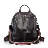 Nesitu High Quality New Casual Coffee Red Grey Black Genuine Leather Women Backpacks Female Girl Lady Travel Shoulder Bags M007