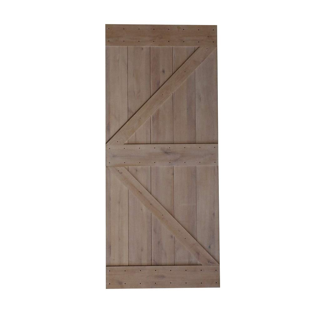 36x84 pouces bricolage naturel robuste noueux aulne bois apprêt brillant coulissante grange porte dalle, flèche