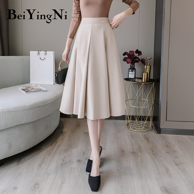 Beiyingni Elastic High Waist Skirts Womens Pleated Korean Casual A Line Fashion All-match Skirt Woman Elegant Simple OL Faldas