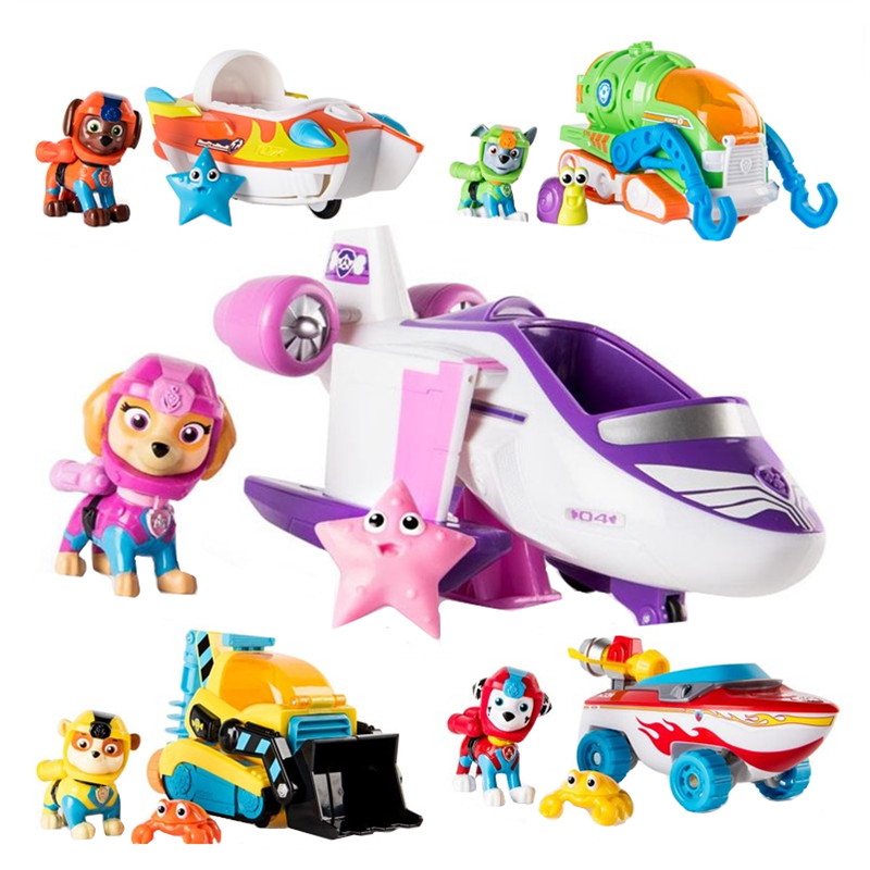 Paw Patrol Toys Set Puppy Patrol Marshall Rescue Car Animated Character Marine Rescue Action Figure Paw Patrol  Birthday Gift