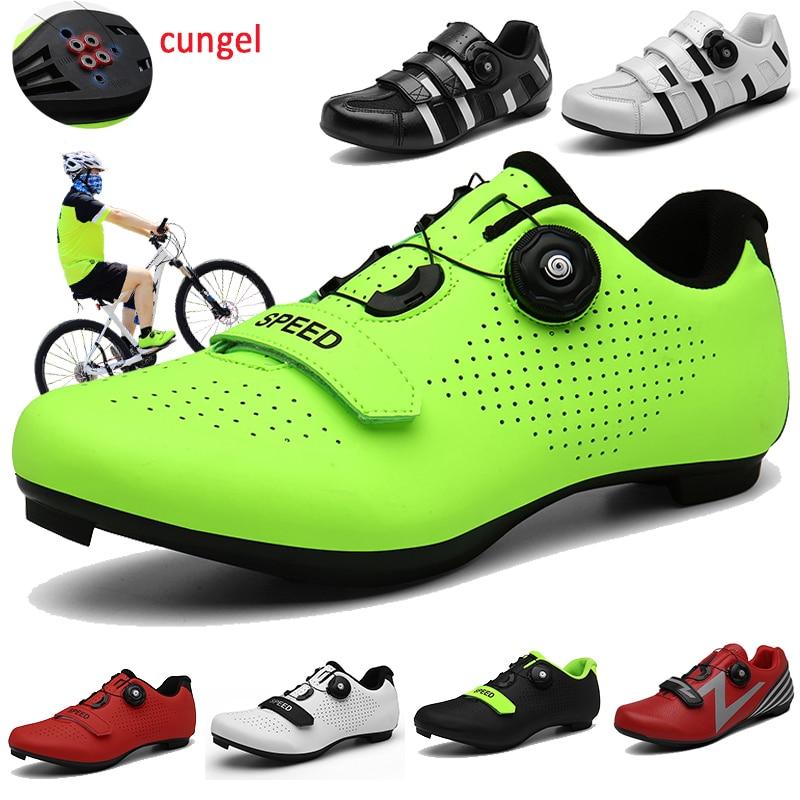 CUNGEL Cycling Shoes Sapatilha Ciclismo Mtb Men Sneakers Women Mountain Bike Shoes Self-Locking Superstar Original Bicycle Shoes