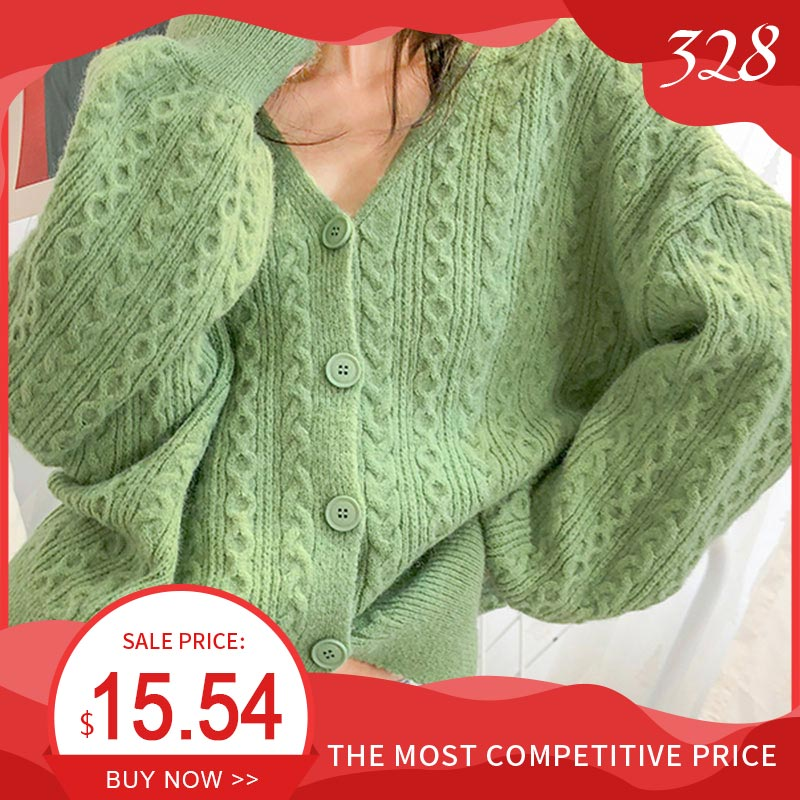 Women's V-neck Twisted Knitted Sweater Cardigan Autumn Spring Pink Cardigans Female 2020 Korean Loose Sweaters Outwear Ladies